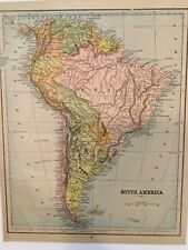 1890 South America Antique Color Map collectible in sleeve ready to frame