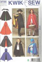 Childs Cape Costume Zoro Bat Man Vampire size XS-XL Kwik Sew 3723 Sewing Pattern