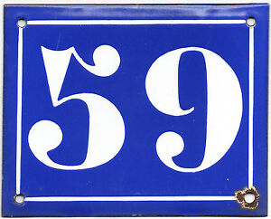 Old blue French house number 59 door gate plate plaque enamel steel metal sign