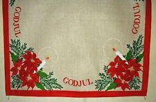 "SCANDINAVIAN CHRISTMAS GOD JUL, POINSETTIA, CANDLE DESIGN 27""X 26"" TABLECLOTH"