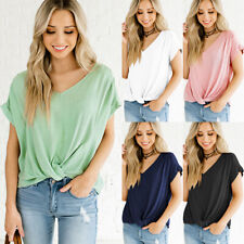 Womens Twist Front Short Sleeve T Shirt Baggy Fit Summer Plain Casual Top Blouse