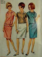 VTG 1960s Simplicity 6403 Crisp Slim 2-Piece Dress (Skirt & Top) Size 14 Bust 34