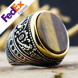Tiger's Eye Stone 925 Sterling Silver Turkish Handmade Men's Ring All Sizes