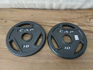 "x2 10 LB CAP 2"" Olympic Hole Iron GRIP Weight Plates Pair Set of 2 20lbs Total"
