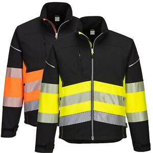 Portwest Hi Vis Softshell Jacket Smart Reflective Tape High Viz Water Resistant