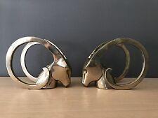 Vintage Brass Antelope Gazelle Ibex Antler Bookends Deco Regency Mid Century Mod