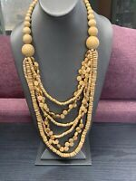"""Vintage Bohemian Wood Beaded Statement Chunky Necklace Natural  30"""" Multi Strand"""