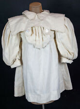 VICTORIAN ANTIQUE GIRLS WHITE FLANNEL DRESS STYLISH c1895 PUFFED SLEEVES