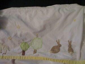 "Pottery Barn Kids ""Wish Upon A Star"" Crib Bed Skirt Blue Bunny Lamb Star"