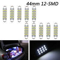 "10x Super White Festoon 44mm 12-SMD Rigid Loop 1.73"" LED Light 561 562 567 A01"