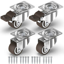 4x Small 25mm Rubber Swivel Castors Wheels Trolley Furniture Casters Brake Table