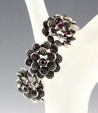 NEW STRETCH FLORAL CUFF BANGLE BRACELET WITH DARK PURPLE GENUINE CRYSTALS