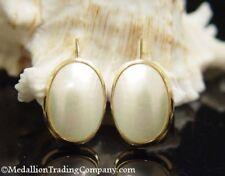 14k Oval 18mm Oval Mabe Pearl Button French Wire Shepherd Hook Dangle Earrings