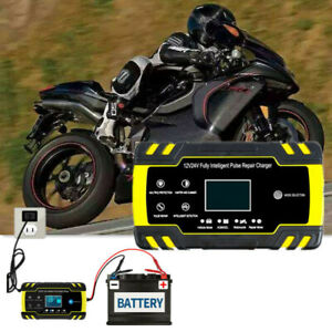 Motorcycle 12V Smart Battery Charger/Maintainer Fully Automatic With Cable Clamp