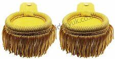 Gold Shoulder Epaulettes with Fringe Yellow Marching Band Epaulette