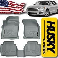 Husky Liners 2013-2016 Ford Fusion Front & Rear Floor Mats Gray Weatherbeater