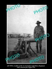 OLD POSTCARD SIZE PHOTO OF AUSTRALIAN ANZAC 1st LIGHT HORSE MACHINE GUN c1916