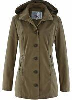 Damen Übergangsjacke mit abnehmbarer Kapuze in khakigrün Größe 34 NEU