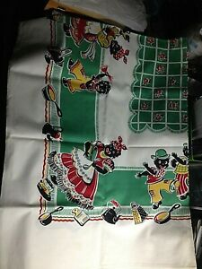 VINTAGE BLACK AMERICANA PRINT TABLECLOTH 52 x 68