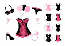 GIRLS/HEN NIGHT  CAKE TOPPER SQUARE EDIBLE ICED ICING + 8 CUPCAKE TOPPERS