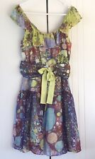 Womens Katherine Carnival Multi Print Multi Color Floaty 100% Silk Dress Size 12
