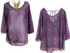 Maurices purple sheer see through back straps plus size top 0 , XL