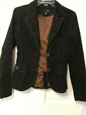 H&M Brown Corduroy Long Sleeve Lined Button Down Jacket w/ Pockets Coat Size 4