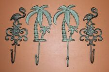 Tropical Palm Tree Flamingo Bathroom Towel Hooks, Cast Iron, Tropical Decor