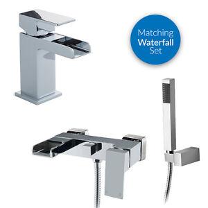 Waterfall Wall Mounted Modern Sink Chrome Lever Bath Shower Mixer Basin Tap Set