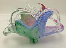 Murano Art Glass Pink Blue Green Swirls Abstract Napkin Letter Holder