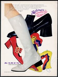 1969 Lady Carrie Originals women's white boots Karl's shoes vintage print ad