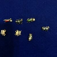 Lot of 7 Vintage Insect Bug Fly Lady Bugs Scatter Pins Brooches Enamel Bead