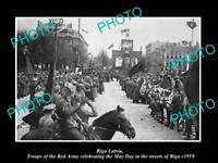OLD LARGE HISTORIC MILITARY PHOTO WWI RIGA LATVIA RUSSIAN TROOPS CELEBRATE 1919