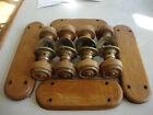 Fine quality antique set oak door knobs and finger plates