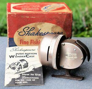 Vintage Fishing Reel 1950s SHAKESPEARE #1777 Push-Button WonderCast Casting Reel