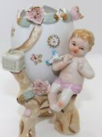 Vintage Cracked Egg Planter Flower Footed Vase Baby Cherub & Blue Bird Roses