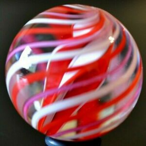 """TOSELAND GLASS MARBLE/1.506""""-ROMANTIC 4 FIN TWIST-RED,WHITE & MAGENTA RIBBONS"""
