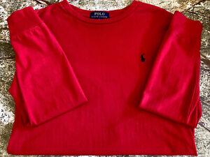 Polo Ralph Lauren Boys Youth MEDIUM 8-10 Red Long Sleeve Thermal T-Shirt EUC