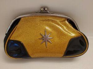 PinUp Rockabilly LUX DE VILLE Glitter Gold Starbust CLUTCH Coin Purse Kiss Lock