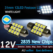 Pair 31mm Canbus Festoon 2835 SMD 12-LED Interior Dome Map Light Lamp 12V DE3175