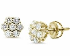 White Sapphire Flower Stud Earrings w/Screw Back - 14k Yellow Gold/Sterling