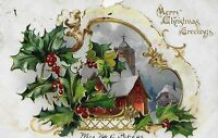 1906 Raphael Tuck & Sons Postcard Embossed Christmas Church in Snow Scene Patern