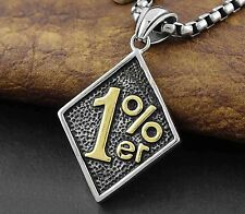 Gold And Silver Tow Tone 1% er One percent Biker Pendant Necklace + Chain
