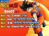 Dragon Ball Z Kakarot PS4 Mod Boost Max Zeni Orbs Level Items (NOT A GAME)
