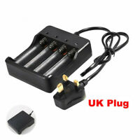 4 Slots 18650 Li-ion Battery Charger Rechargeable for 4X 4.2V UK-Plug Batteries