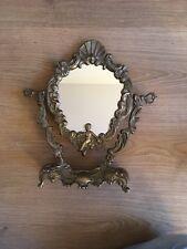 Magnifique Ancien Miroir De Table Coiffeuse En Bronze Art Nouveau Angelots
