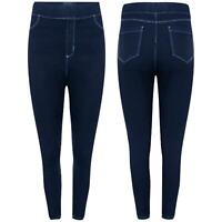 Womens Ladies Pocket Elastic Waist Tight Pencil Ankle Length Denim Jeans Pants