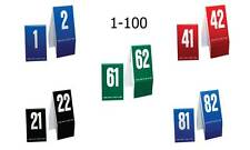 Plastic Table Numbers 1-100- Mixed Color Groups, Tent style, Free shipping
