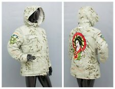 ED HARDY Down Ski Jacket Snow Skirt RECCO Embroidered Geisha L