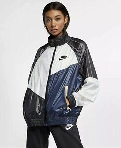 Nike Womens Sz.Small Sportswear NSW Woven Track Jacket Black/White AR3025-010